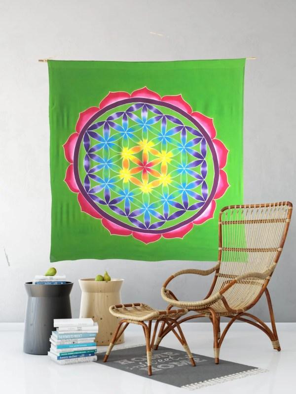 flor de la vida batik verde