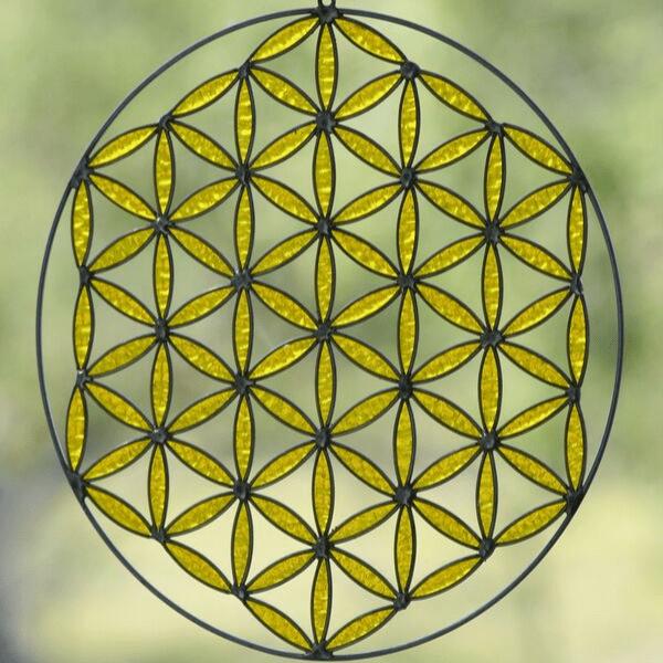 armonizador de la flor de la vida amarillo manipura