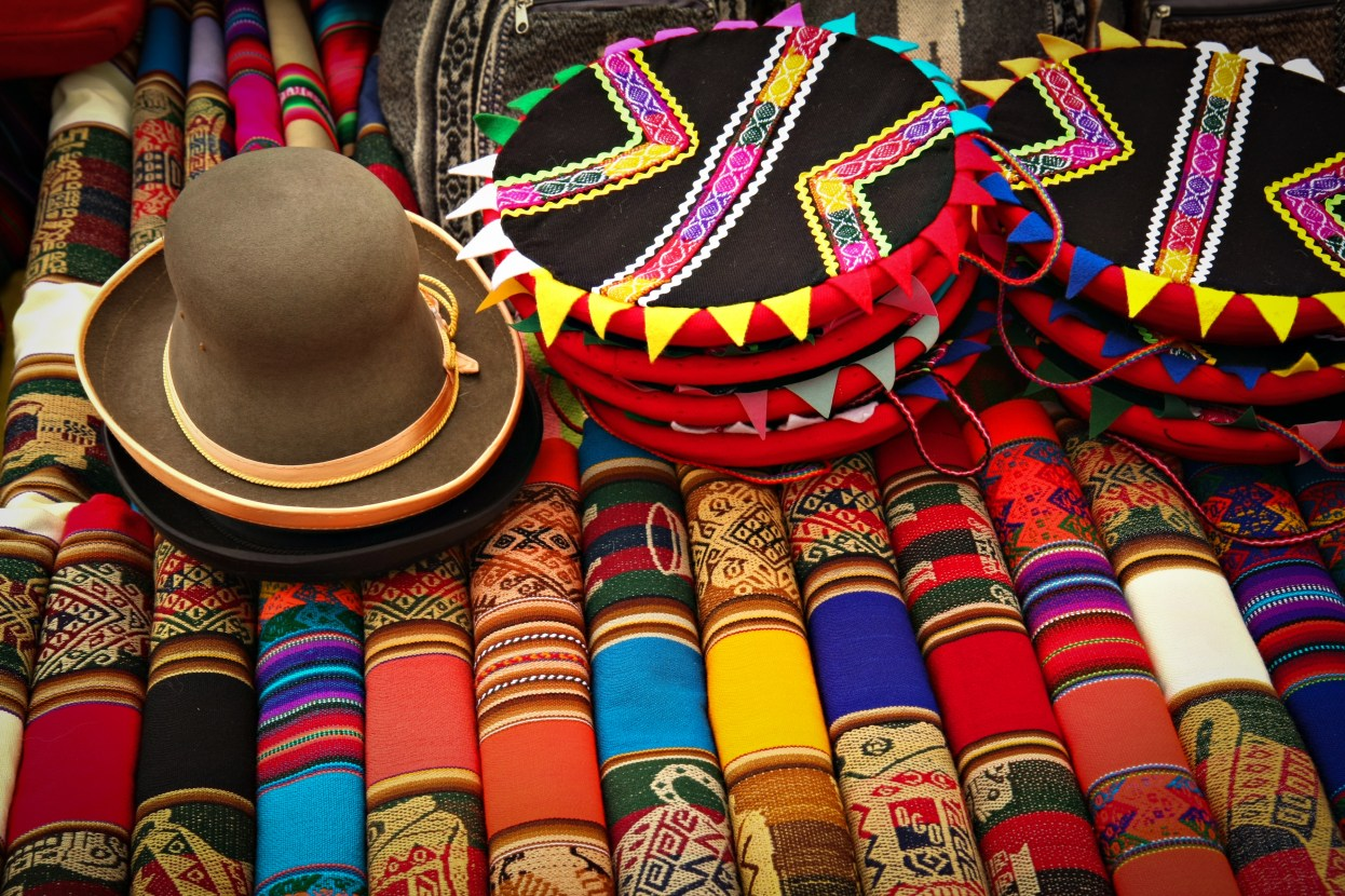 Rugs and hats for sale in Latin American market