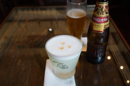 Pisco Sour and the local beer of Peru