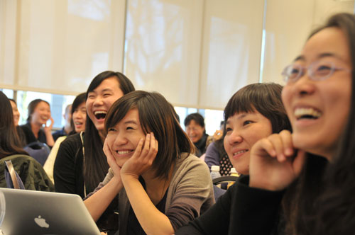 Happy audience during language conference at WSU