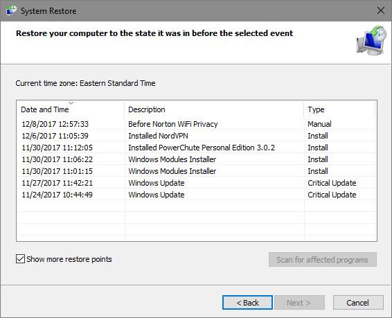 Définir un point de restauration dans la restauration du système Windows