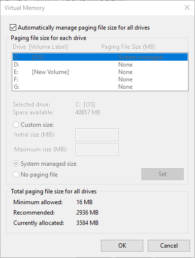 taille de fichier d'échange par défaut de la mémoire virtuelle