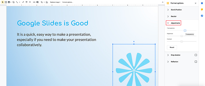 Modification d'image dans les ajustements de Google Slides