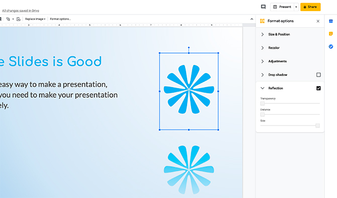 Édition d'images dans Google Slides Reflection