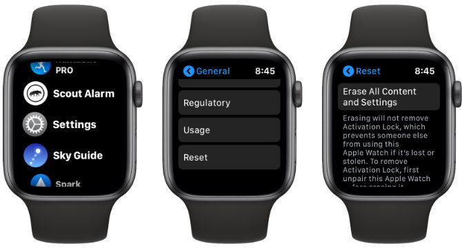 Réinitialisation de l'Apple Watch