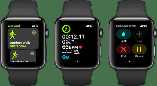 Entraînements des applications Apple Watch Fitness