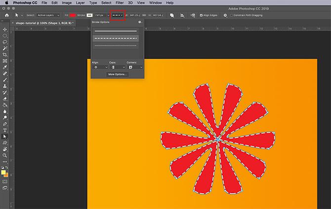 Comment utiliser l'outil de forme personnalisée Photoshop Ajuster le type de trait
