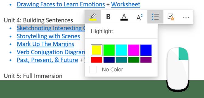 Mettre en surbrillance les notes dans OneNote pour Windows 10