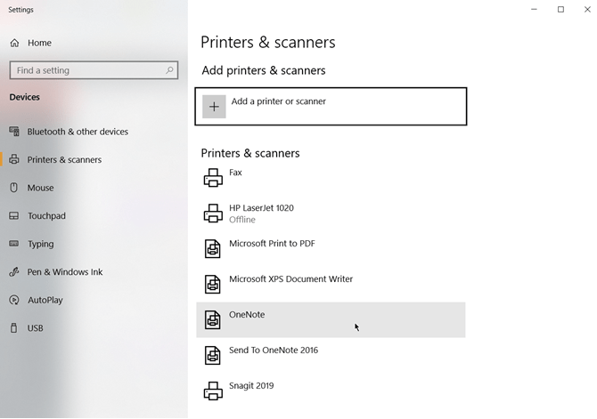 Choisissez OneNote comme imprimante par défaut dans Windows 10