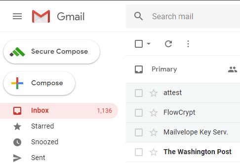 bouton de composition sécurisé de flowcrypt boîte de réception gmail