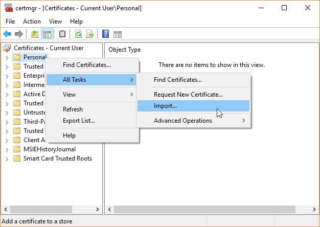certificat d'importation du gestionnaire de certificats Windows