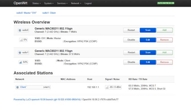 Menu sans fil OpenWRT LuCI Dashboard