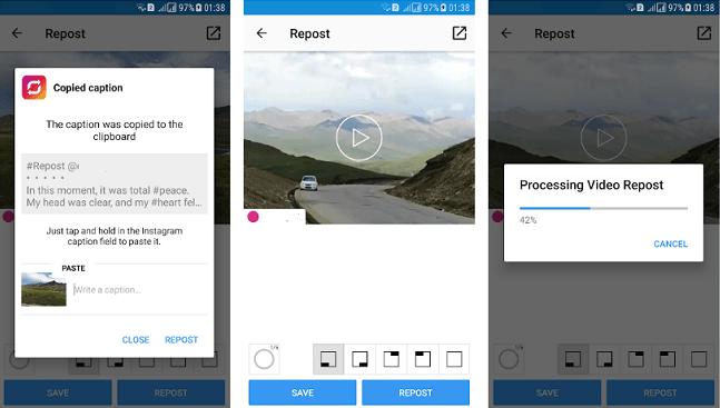 Republier des photos et des vidéos pour Instagram par Dannn Google Play Store Images