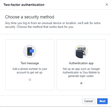 facebook activer les options 2fa