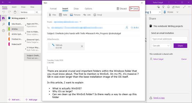 Page OneNote dans l'e-mail
