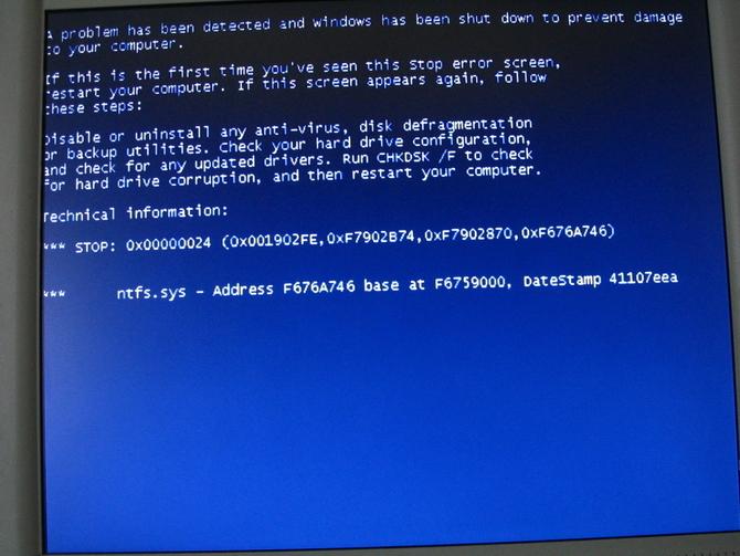 écran bleu de virus