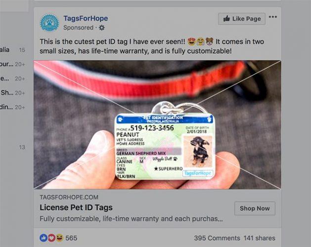 Taille de l'annonce Facebook