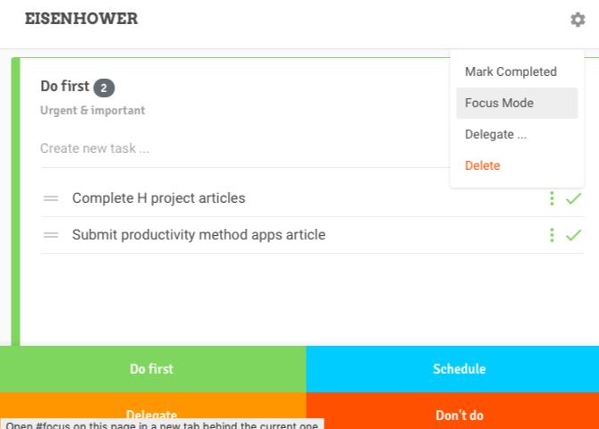Tâches importantes et urgentes dans l'application Web Eisenhower Matrix