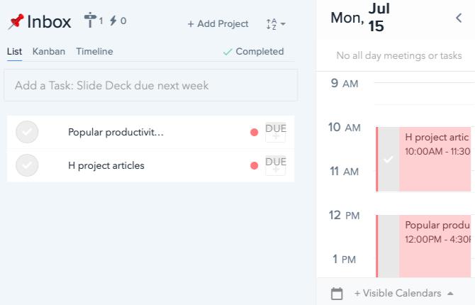 liste des tâches et calendrier dans l'application Web Plan