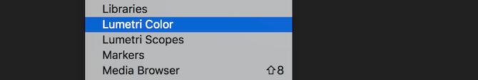 Entrée de menu Premiere Pro Lumetri Color
