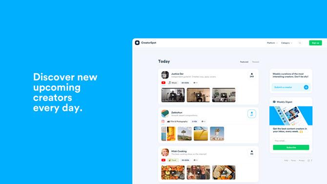 CreatorSpot-Startseite