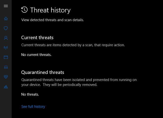 Windows-Defender-Bedrohungsverlauf