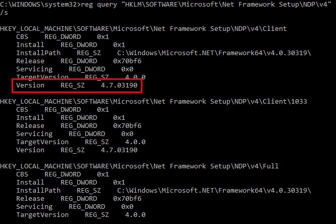 Eingabeaufforderung für die .NET Framework-Version