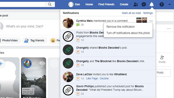 facebook supprimer les options du menu de notification