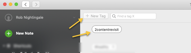 Evernote New Tag