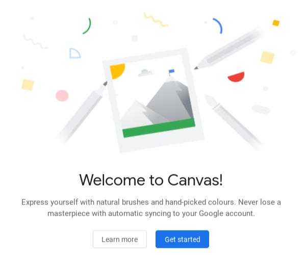 Écran d'introduction de Google Chrome Canvas