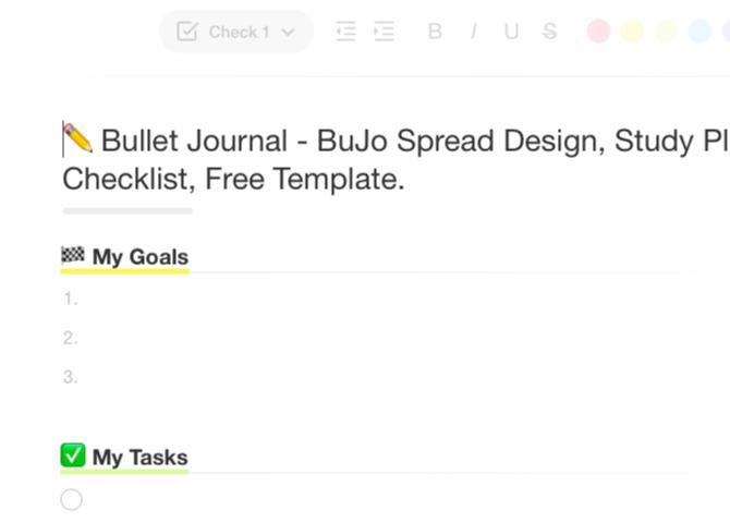 Modèle Bullet Journal dans l'application Web Taskade