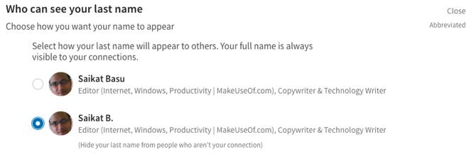 Options de nom de famille sur LinkedIn