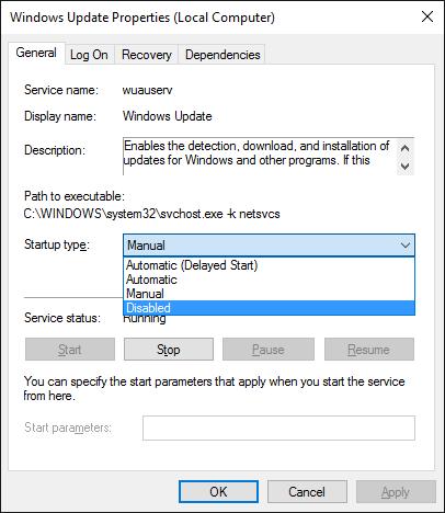 Désactiver Windows Update via les propriétés de Windows Update
