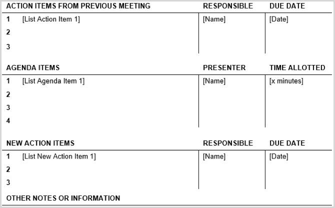 15 modèles d'agenda de réunion gratuits pour Microsoft ...