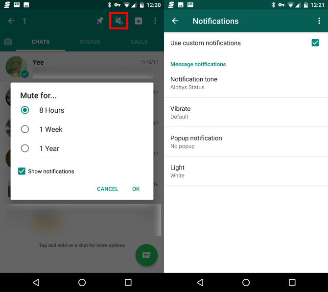 Options de notification muette WhatsApp