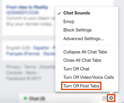 Come disabilitare la scheda Commenti contestuali di Facebook Disabilitare le schede di pubblicazione FB