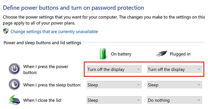 So schalten Sie einen Laptop-Bildschirm in Windows 10 mit dem Netzschalter Windows 10 aus