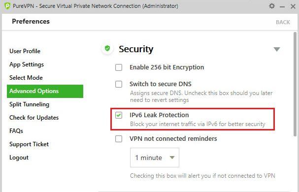 IPv6-Leckschutz in PureVPN