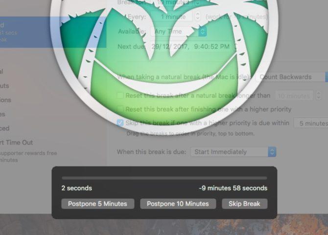 time-out-Mac Applications de la barre de menus