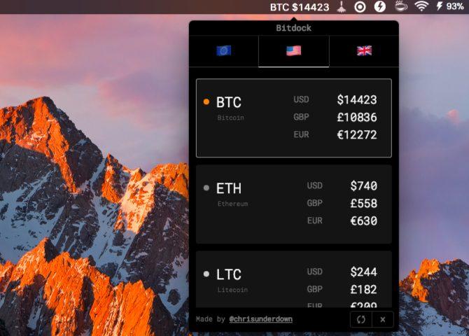 Applications de la barre de menus de bitdock-Mac