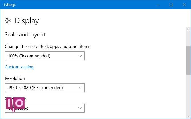 paramètres d'affichage de windows 10