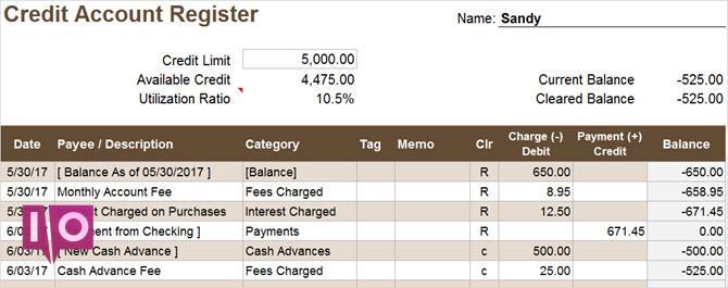 feuille de calcul du registre des comptes de crédit