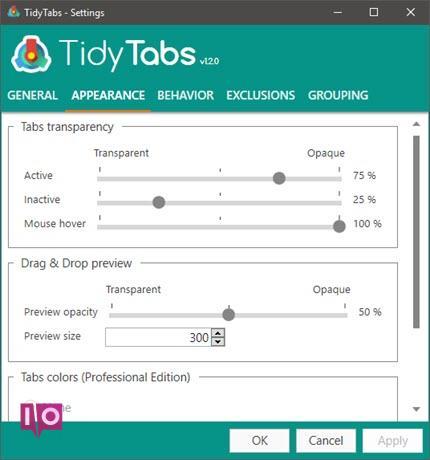 TidyTabs-Einstellungen