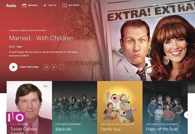 Écran principal de Hulu Live TV