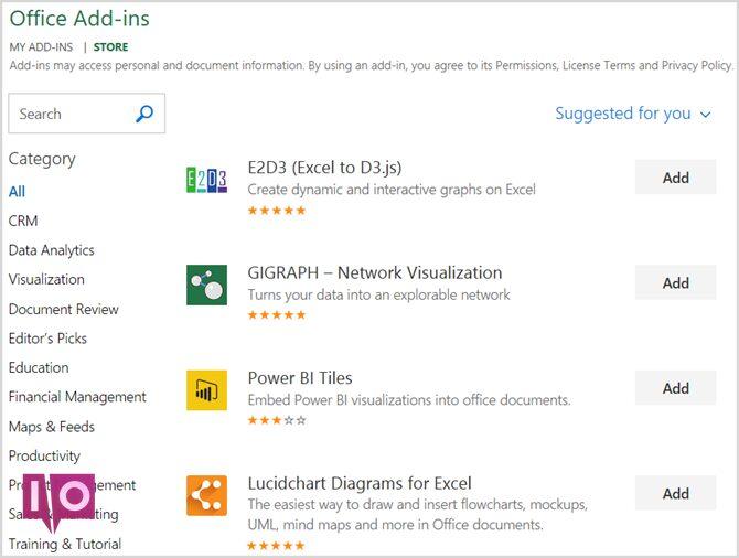 Compléments Microsoft Office Store Excel
