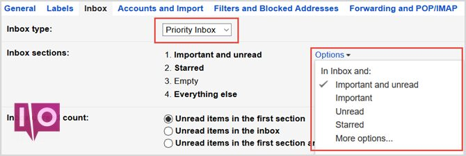 paramètres gmail boîte de réception prioritaire