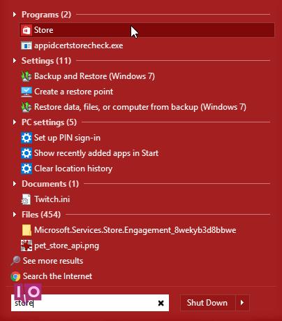 recherche de magasin Windows 10