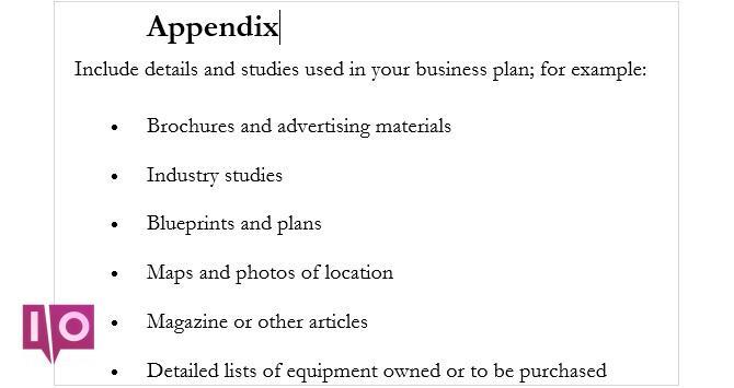 annexe du plan d'affaires