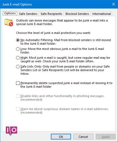 Options de courrier indésirable Outlook